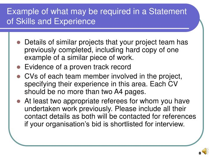 Example of what may be required in a Statement of Skills and Experience