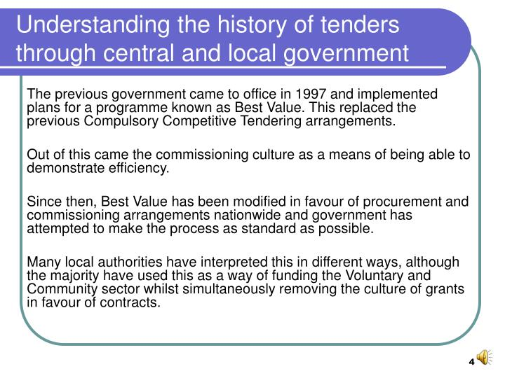 Understanding the history of tenders through central and local government
