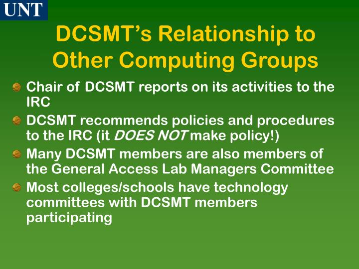 DCSMT's Relationship to Other Computing Groups