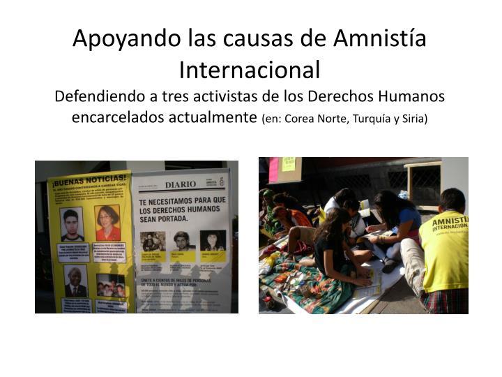 Apoyando las causas de Amnistía Internacional
