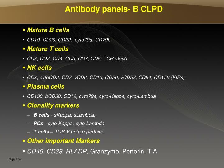 Antibody panels- B CLPD
