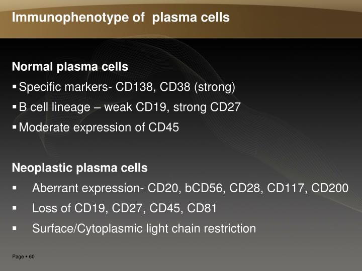 Immunophenotype of  plasma cells