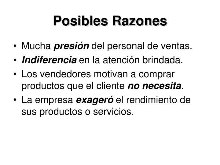 Posibles Razones