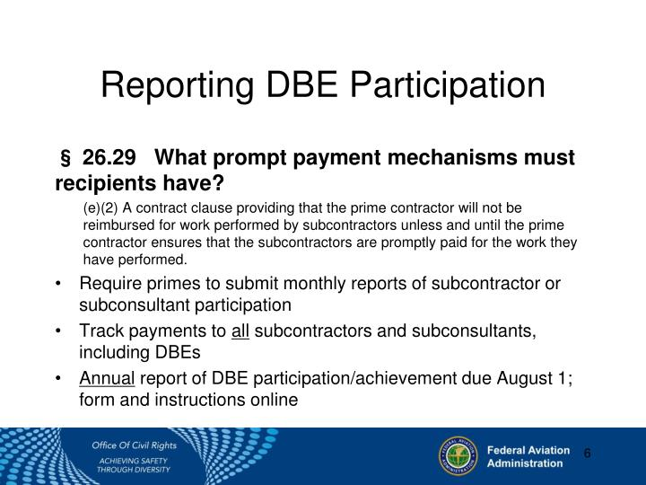 Reporting DBE Participation
