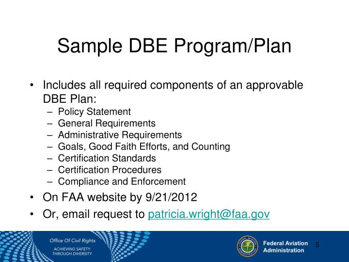 Sample DBE Program/Plan