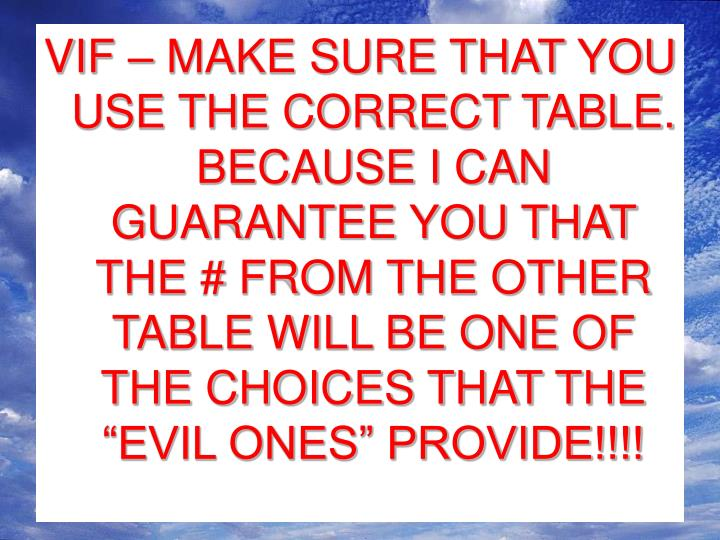 "VIF – MAKE SURE THAT YOU USE THE CORRECT TABLE.  BECAUSE I CAN GUARANTEE YOU THAT THE # FROM THE OTHER TABLE WILL BE ONE OF THE CHOICES THAT THE ""EVIL ONES"" PROVIDE!!!!"