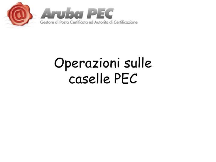 Operazioni sulle caselle PEC