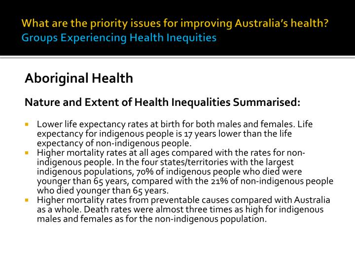nature and extent of health inequalities In order to better understand social inequalities in health, these  was to  systematically review the range, nature, and extent of current research.