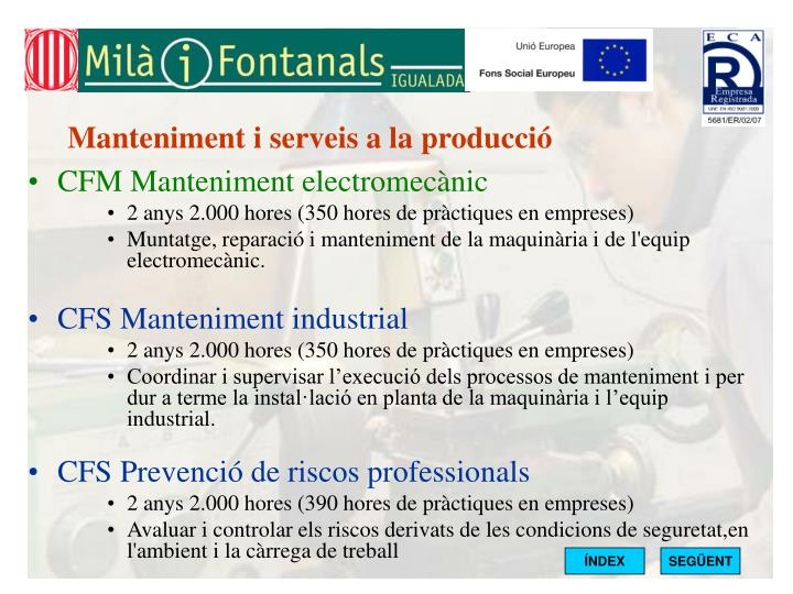 Manteniment i serveis a la producció