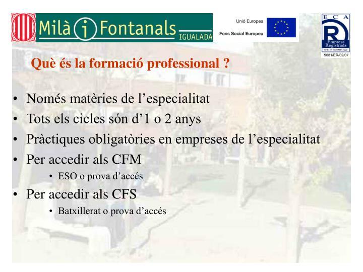 Què és la formació professional ?