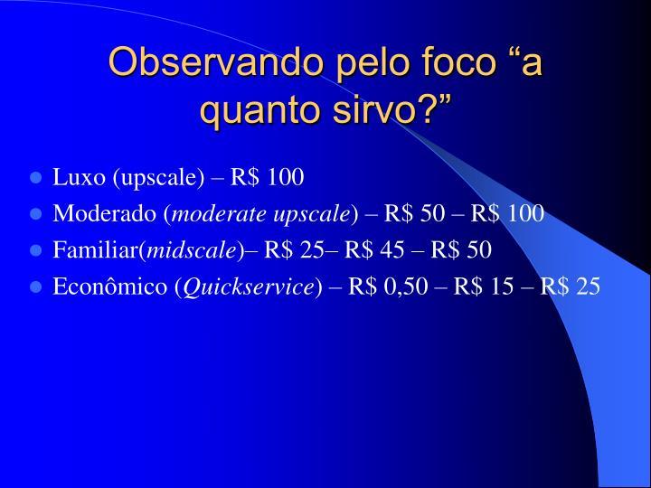 Luxo (upscale) – R$ 100