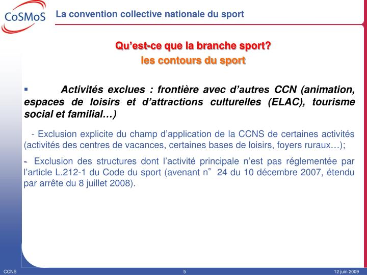 La convention collective nationale du sport1