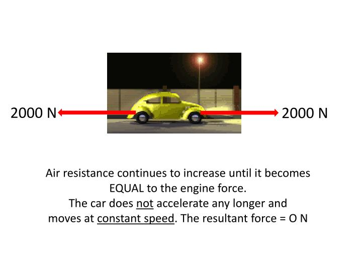 Air resistance continues to increase until it becomes EQUAL to the engine force.