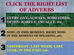click the right list of adverbs