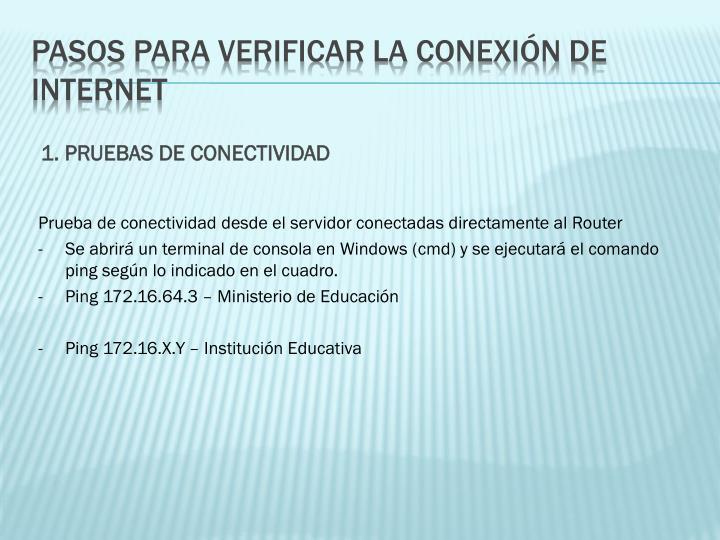 1. PRUEBAS DE CONECTIVIDAD
