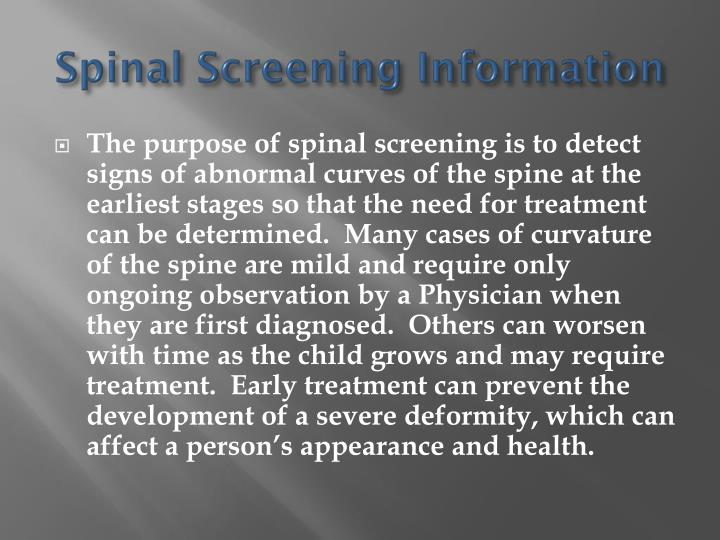 Spinal Screening Information
