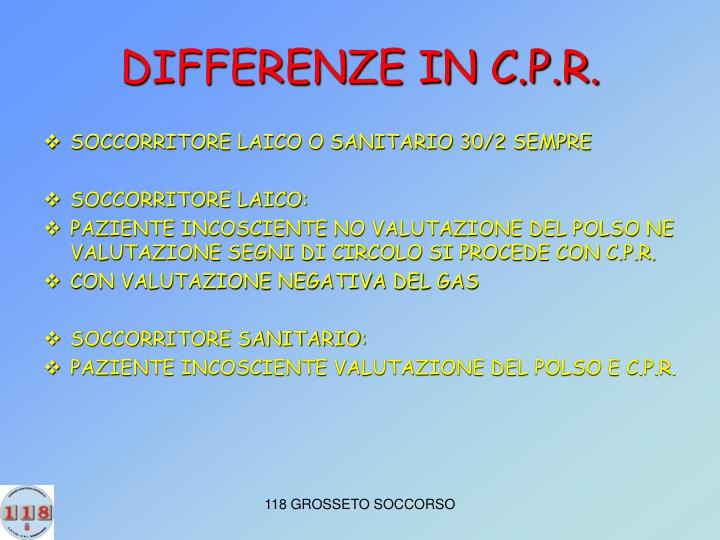 DIFFERENZE IN C.P.R.