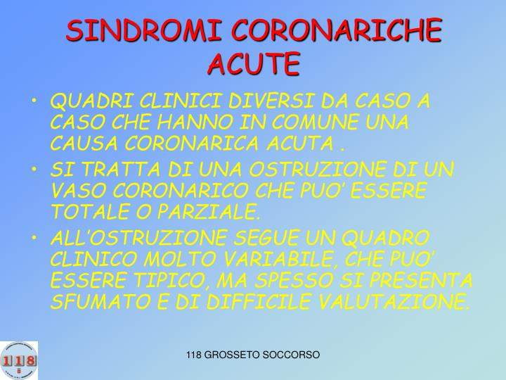 SINDROMI CORONARICHE