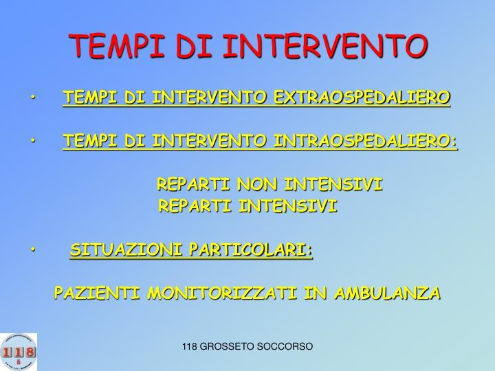 TEMPI DI INTERVENTO