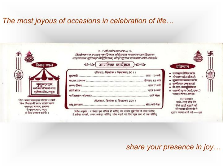 The most joyous of occasions in celebration of life…