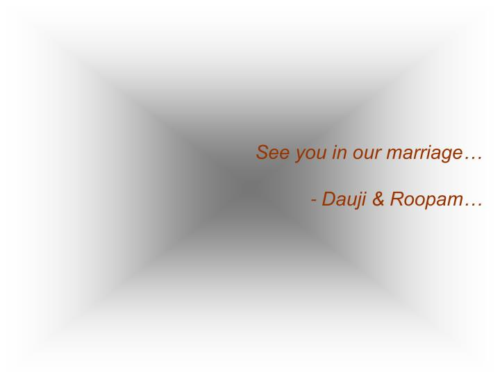 See you in our marriage…