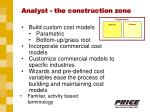 analyst the construction zone