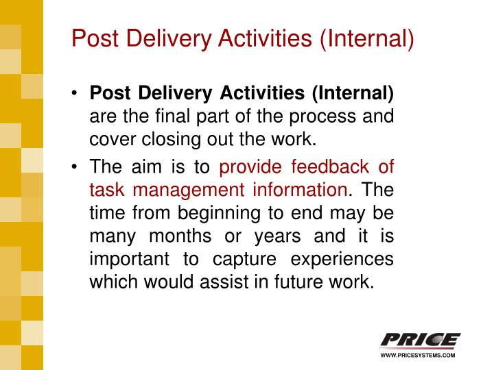 Post Delivery Activities (Internal)