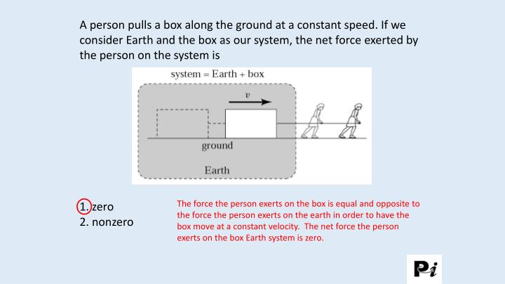 A person pulls a box along the ground at a constant speed. If we consider Earth and the box as our system, the net force exerted by the person on the system is