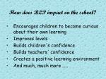 how does blp impact on the school