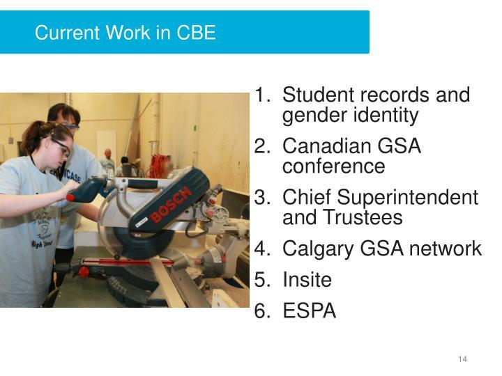 Current Work in CBE