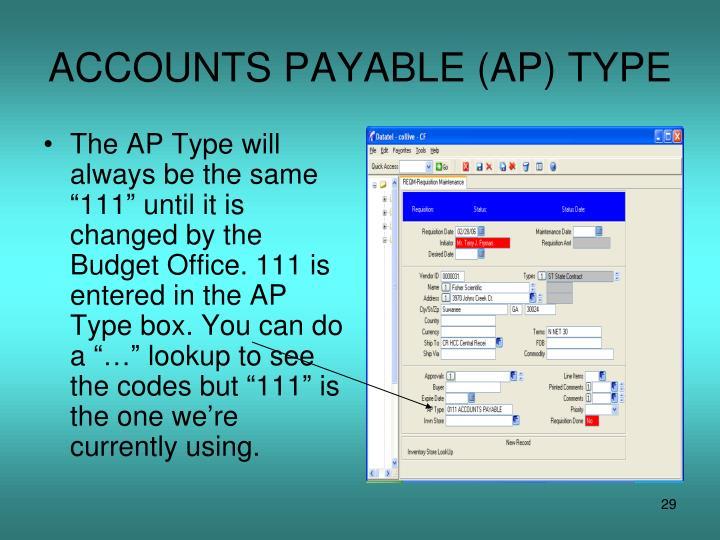 ACCOUNTS PAYABLE (AP) TYPE