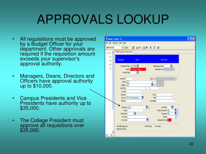 APPROVALS LOOKUP