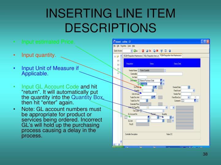 INSERTING LINE ITEM DESCRIPTIONS