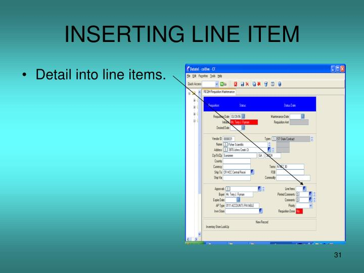 INSERTING LINE ITEM