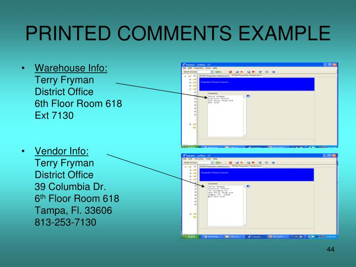 PRINTED COMMENTS EXAMPLE