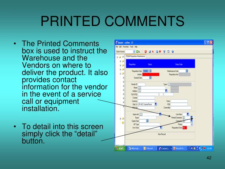 PRINTED COMMENTS