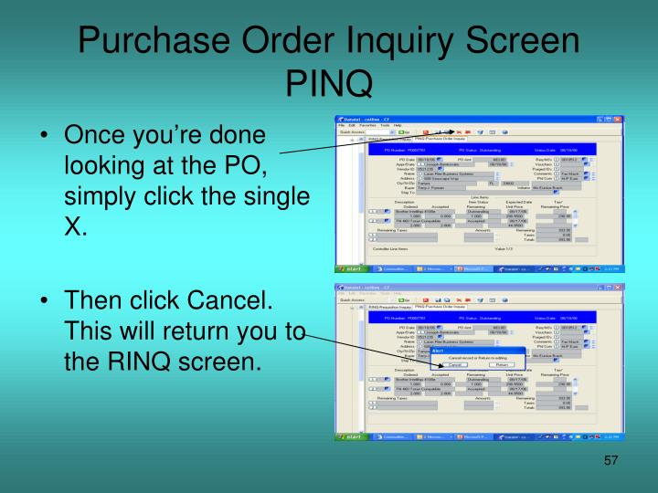 Purchase Order Inquiry Screen