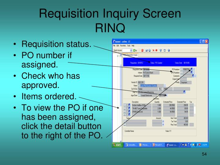 Requisition Inquiry Screen