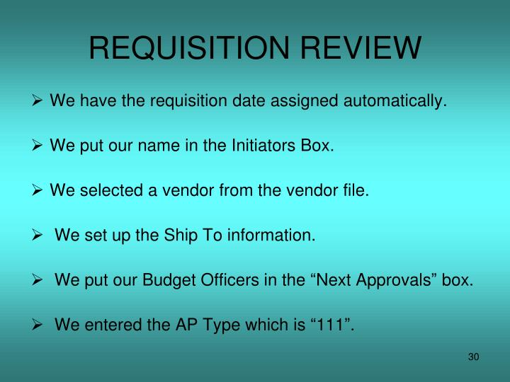 REQUISITION REVIEW