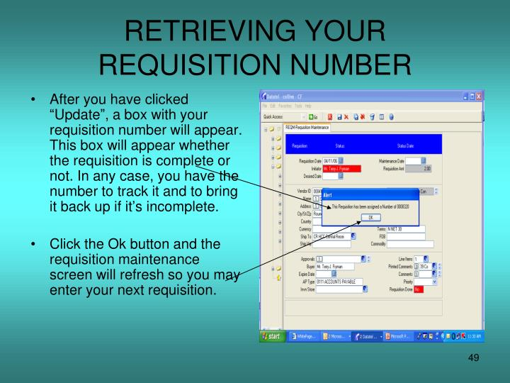 RETRIEVING YOUR REQUISITION NUMBER