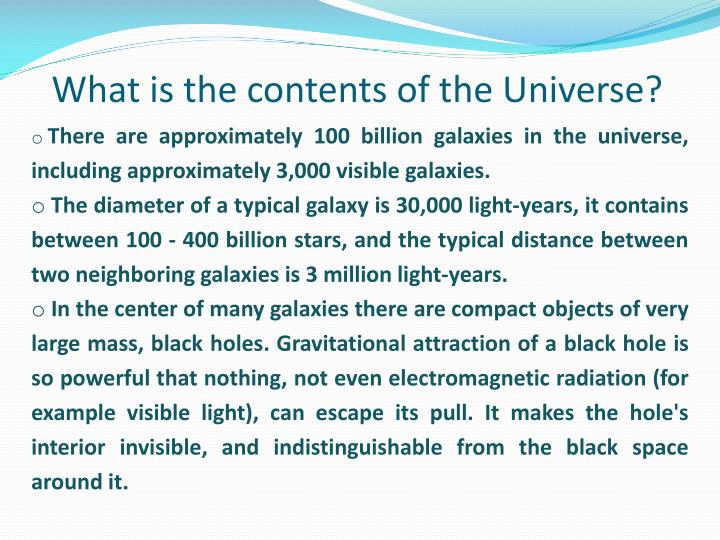 What is the contents of the Universe?