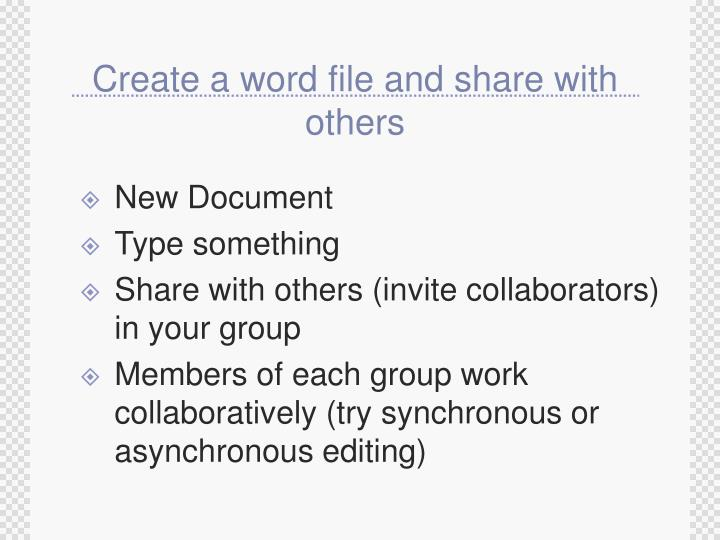 Create a word file and share with others