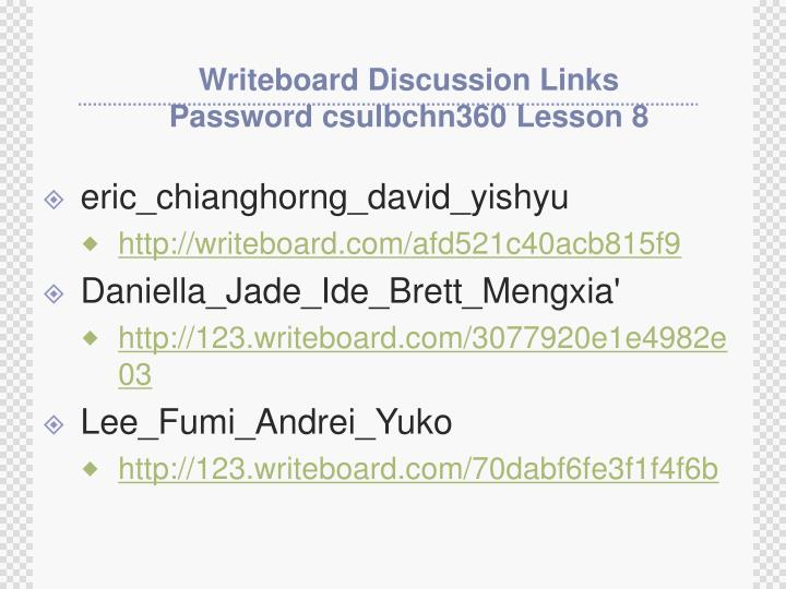 Writeboard Discussion Links