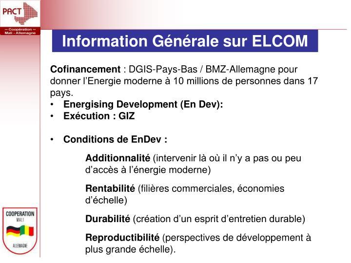 Information Générale sur ELCOM