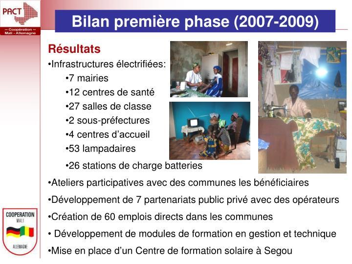 Bilan première phase (2007-2009)