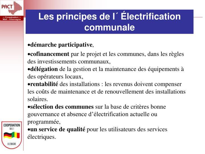 Les principes de l´ Électrification  communale