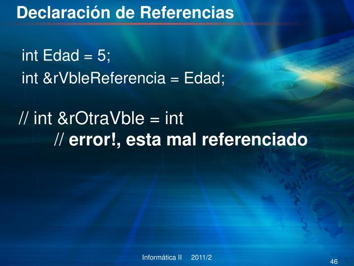 Declaración de Referencias