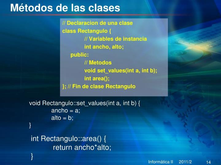 Métodos de las clases