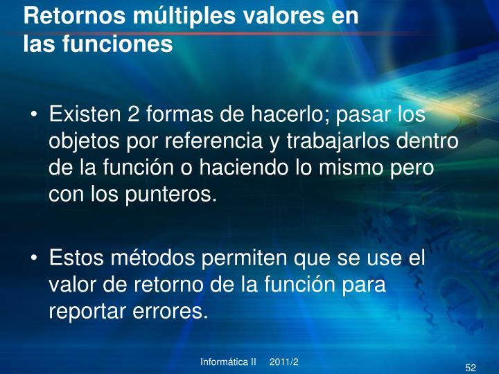 Retornos múltiples valores en las funciones