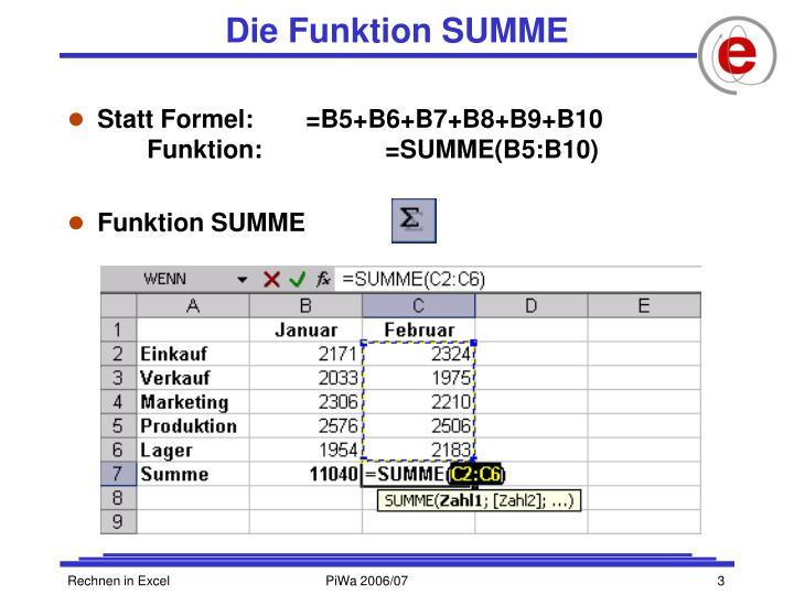 Die Funktion SUMME